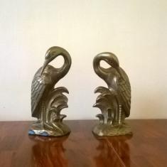 PERECHE STATUETE ART DECO COCORI DIN METAL BRONZ - Metal/Fonta