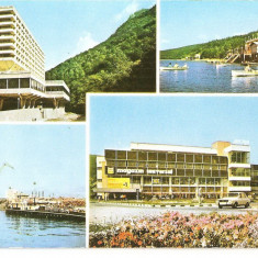 CPI (B5853) BAILE HERCULANE. HOTELUL ROMAN, LACUL VALIUG, MOLDOVA VECHE, RESITA - Carte Postala Banat dupa 1918, Necirculata, Printata