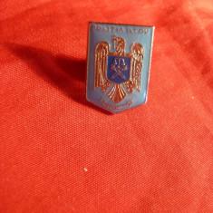 Insigna - Politia Judetului Ilfov , metal si email , cu buton , h= 2 cm