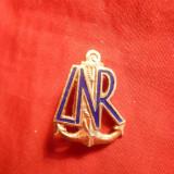 Insigna LNR - Liga Navala Romana -metal aurit si email, h= 2, 3 cm