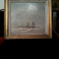 "PVM - Tablou ""Peisaj de Iarna"" ulei pe carton semnat DARION / Dorin Arion 1990"