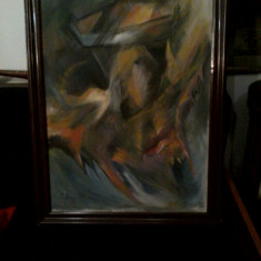 "PVM - Tablou ""Arta Moderna"" ulei pe carton semnat I. Streinu '98 (1) - Pictor roman, An: 1998, Abstract"
