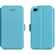 Husa iPhone 4 4S Flip Case Inchidere Magnetica Blue - Husa Telefon Apple, Albastru, Piele Ecologica, Cu clapeta, Toc