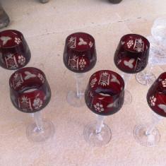 Superb set de pahare de vin cu picior - lucrate manual - Arta din Sticla