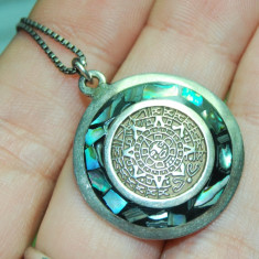 Colier, lant cu pandant argint 925 cu sidef de scoica, antic, calendar maias! - Colier argint