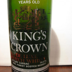 RARE sticla king's crown, 4years, finest scotch whisky, cl.75 gr. 43, ani 60