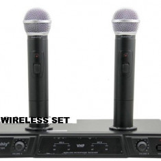 SET 2 MICROFOANE PROFESIONALE WIRELESS JUESHY,ACUMULATORI INCLUSI ,RECEIVER.