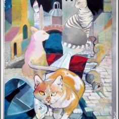 PICTURĂ ABSTRACTĂ / TABLOU FOARTE MARE - MOTAN CU PEȘTE, PISICI ȘI ȘOBOLANI! - Tablou autor neidentificat, An: 1990, Animale, Acuarela