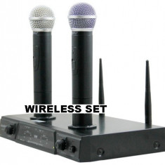 SUPER SET 2 MICROFOANE PROFESIONALE WIRELESS CU ACUMULATORI INCLUSI+RECEIVER .