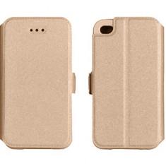Husa iPhone 4 4S Flip Case Inchidere Magnetica Gold - Husa Telefon Apple, Auriu, Piele Ecologica, Cu clapeta, Toc