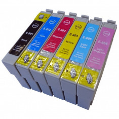 Set 6 cartuse imprimanta Epson T0801 T0802 T0803 T0804 T0805 T0806 compatibile capacitate mare. - Cartus imprimanta