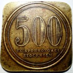 C.171 SUEDIA JETON 500 C.C. SPORRONG & CO STOCKHOLM CONTRAMARCA CP 30, 5mm - Jetoane numismatica