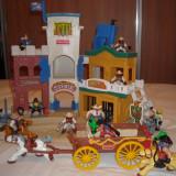 Fisher Price - Hotel western cu 15 figurine - caruta cu cai, sherif, banditi