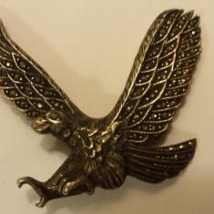 Brosa argint VULTUR batuta in marcasite MASIVA veche RARA vintage Splendida