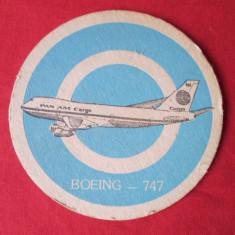 Suport pahar, cartonas reclama, biscuite bere PanAm - Boeing - vechi - Cartonas de colectie