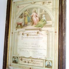Act de confirmare - litografie bisericeasca germana, datat 16 martie 1902 - Diploma/Certificat