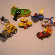 Playmobil 1-2-3 - Lot 7 jucarii : buldozer, barca, avion, elicopter, formula etc