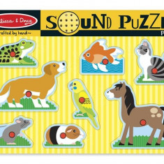 Puzzle Melissa & Doug De Lemn Cu Sunete Animale De Companie Melissa And Doug