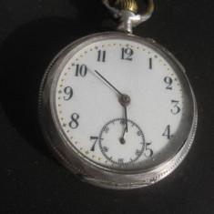 Ceas buzunar argint 800 gravat Cilindre Remontoire 10 rubis, functional. - Ceas de buzunar vechi