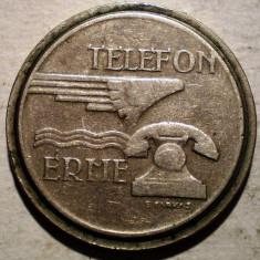 1.823 UNGARIA JETON TELEFONIC TELEFON ERME MAGYAR POSTA 21mm - Jetoane numismatica