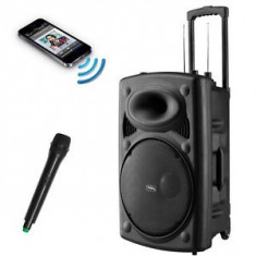 BOXA ACTIVA KARAOKE,MIXER,MP3 PLAYER,EFECTE VOCE,ACUMULATOR+MICROFON WIRELESS !