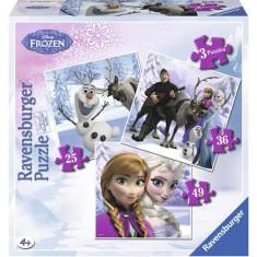 Puzzle Frozen Anna, Elsa Si Prietenii, 25/36/49P - Jocuri arta si creatie Ravensburger