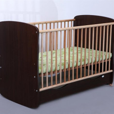 Patut Copii Lemn Sertar MYKIDS SERENA Cu Leg Wenge 3614 - Patut lemn pentru bebelusi MyKids, 120x60cm, Maro