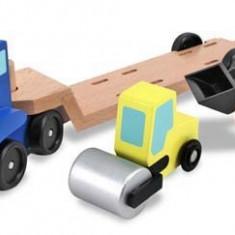 Camion Transportor Cu Platforma Cu Utilaje De Constructii Melissa And Doug - Vehicul Melissa & Doug