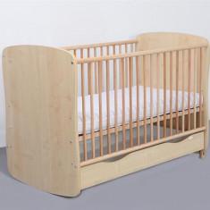 Patut Copii Lemn Sertar MYKIDS SERENA Cu Leg Natur 3613 - Patut lemn pentru bebelusi MyKids, Crem