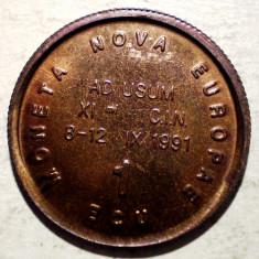 F.104 JETON CONGRESUL NUMISMATIC INTERNATIONAL 1 ECU MONETA NOVA EUROPAE 1991 - Jetoane numismatica