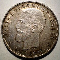 R.215 ROMANIA CAROL I JUBILEU 5 LEI 1906 ARGINT 25g - Moneda Romania