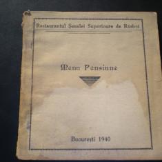 Carnet cartele Restaurantul Scoalei Superioare de Rasboi 1940