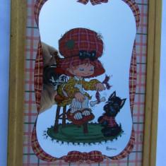 BONIE-FETITA CU CATELUL-Tablou-oglinda-vintage