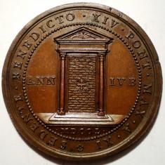 C.451 ITALIA VATICAN MEDALIE PAPA BENEDICT XIV 1750 BRONZ 44mm, Europa