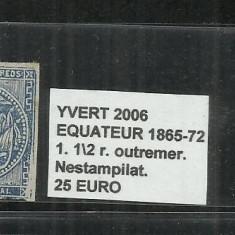 ECUADOR 1865 - 72 - 1. 1/2 R., Nestampilat