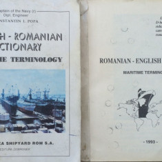 ENGLISH ROMANIAN + R-E DICTIONARY MARITIME TERMINOLOGY -Constantin I. Popa 2 vol