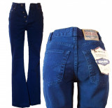 Blugi dama - talie inalta - indigo - GASS jeans W 27 (Art. F39), Lungi, Albastru