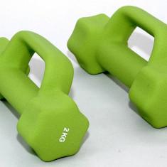 Set de 2 gantere din neopren 2 x 2 kg - cu manere suplimentare - pentru fitness