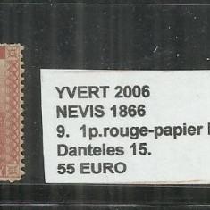 NEVIS 1866 - 9. 1 P., Nestampilat