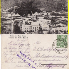 Vatra Dornei (Bucovina, Suceava)- Vedere generala - cenzura, rara - Carte Postala Bucovina 1904-1918, Circulata, Printata