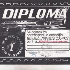 Bnk fil Diploma Expozitia filatelica Avitie si cosmos Sinaia 1987