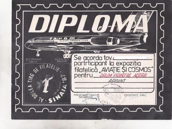 bnk fil Diploma Expo fil Aviatie si cosmos Sinaia 1987 foto mare