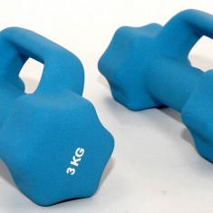 Set de 2 gantere din neopren 2 x 3 kg - cu manere suplimentare - pentru fitness, Greutate (kg): 5