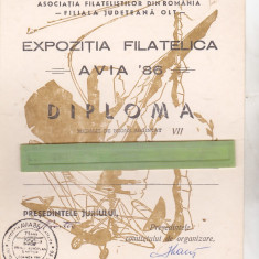 Bnk fil Diploma Caracal Expozitia filatelica Avia 86