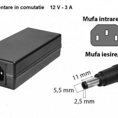 SURSA , ALIMENTATOR STABILIZAT 12v - 3a   PENTRU BANDA LED RGB 150 SMD