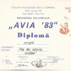 Bnk fil Diploma Expozitia filatelica Avia 83 Deveselu