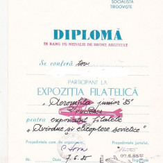 Bnk fil Diploma Expozitia filatelica Aeromfila junior 85 Pucioasa