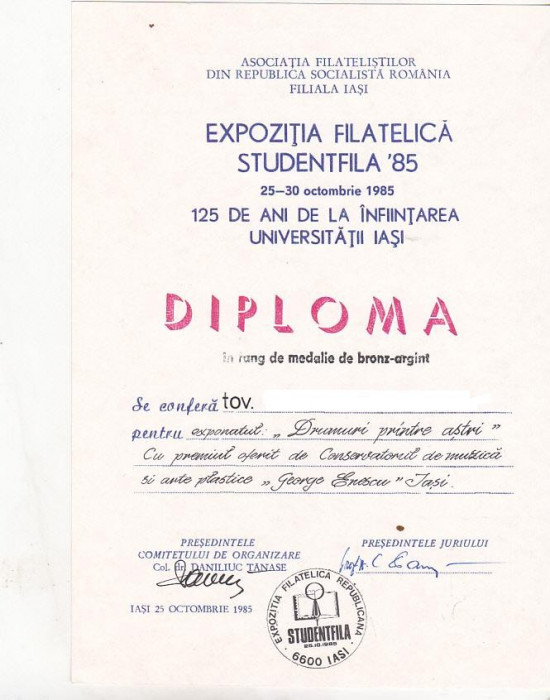 bnk fil Diploma Expozitia filatelica Studentfila 85 Iasi foto mare