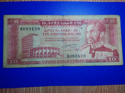 Etiopia  10 dollars 1966    Fine   serie K083179 foto