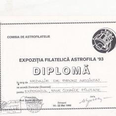 Bnk fil Diploma Expozitia filatelica Astrofila Botosani 1993